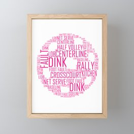 Pickleball Ball design Art Words design Gift Pink Framed Mini Art Print