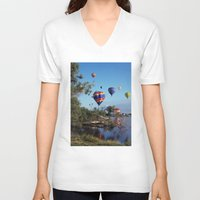 aviation V-neck T-shirts featuring Hot air balloons over lake by Bruce Stanfield Photographer