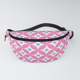Candy pink, blue and white elegant tile ornament pattern Fanny Pack