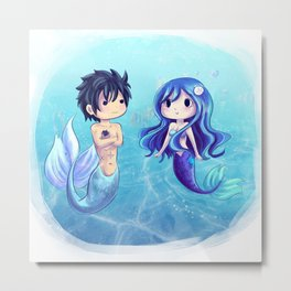 Gray and Juvia Mermaids Metal Print
