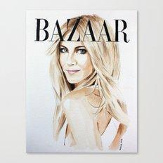 Harper's Bazaar Magazine Cover. Jennifer Aniston. Fashion Illustration Canvas Print