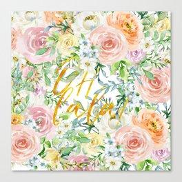 "Oh la la "" Fashionable Watercollor Floral Pattern Canvas Print"