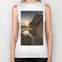 Sunset at Three Cliffs Bay Biker Tank