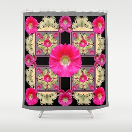 FUCHSIA PINK HOLLYHOCKS GREY & YELLOW BUTTERFLIES Shower Curtain