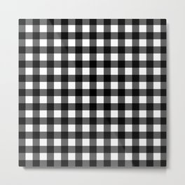 Plaid (Black & White Pattern) Metal Print