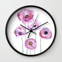 very nice watercolor flowers of anemone Wall Clock