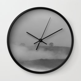 Black and white foggy landscape Wall Clock