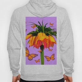 LILAC YELLOW MONARCH BUTTERFLIES CROWN IMPERIAL Hoody