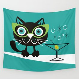 1950s Swank Mid Century Modern Martini Cocktail Kitty Cat Wall Tapestry
