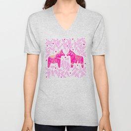 Swedish Dala Horses – Pink Palette Unisex V-Neck