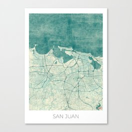 San Juan Map Blue Vintage Canvas Print