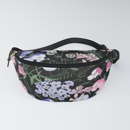 Flower bed in black Fanny Pack