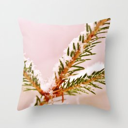 Spruce twig with snowflakes on pink Throw Pillow