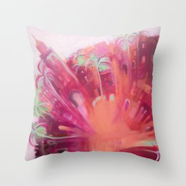 Marrakesh Dream - Colourful Moroccan Buildings, Palm Trees and the Souk. Throw Pillow