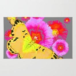 YELLOW BUTTERFLIES PINK MODERN FLOWERS Rug