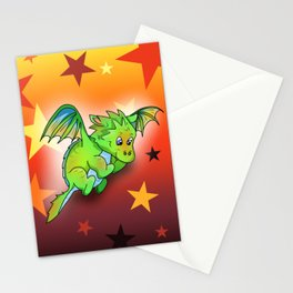 Happy green cartoon baby dragon with stars Stationery Cards