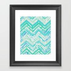 MINT ETHNIC CHEVRON Framed Art Print