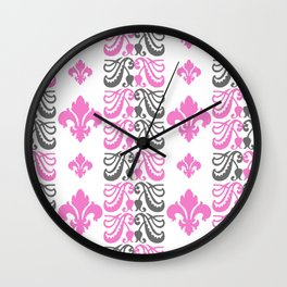 Fluer de Lis Custom Pink Wall Clock