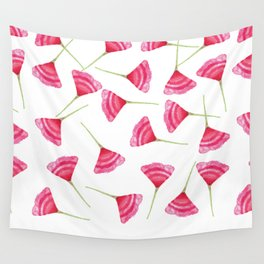 Pretty Pink and Green Scattered Flower Pattern Wall Tapestry