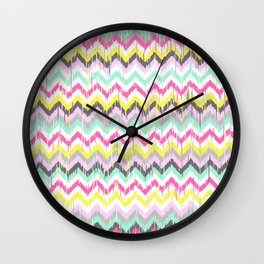 Ikat Chevron in Pink, Yellow, Mint Green, Grey Wall Clock