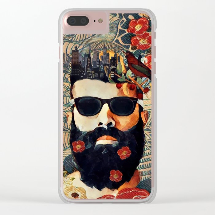 Beard and glasses Clear iPhone Case