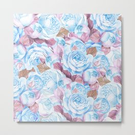 Modern blue lavender watercolor elegant rose floral Metal Print