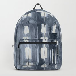 Simply Shibori Lines in Indigo Blue on Lunar Gray Backpack