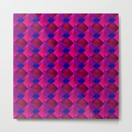 Volumetric pattern of squares with pink mosaic diamond-shaped highlights and a checkerboard. Metal Print