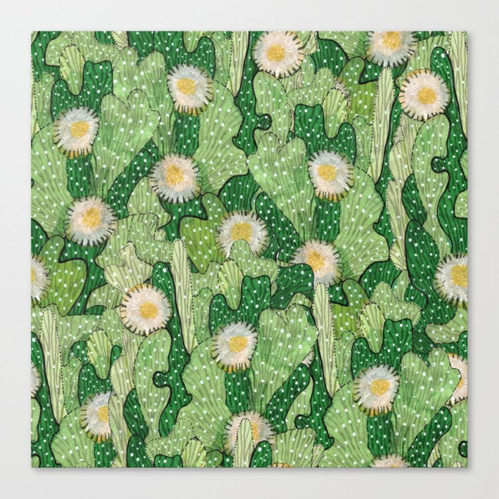 Cacti Camouflage, Green and White Canvas Print