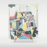 san francisco map Shower Curtains featuring San Francisco. by Studio Tesouro