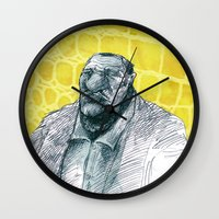 gangster Wall Clocks featuring real gangster by jenapaul