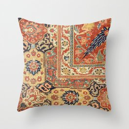 Indian Trellis II // 17th Century Ornate Medallion Red Blue Green Flowers Leaf Colorful Rug Pattern Throw Pillow