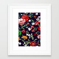 vampire weekend Framed Art Prints featuring VAMPIRE WEEKEND FLORAL VECTOR by Danielle Ebro