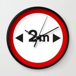 2 Metre Distance Sign Wall Clock