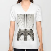 brooklyn bridge V-neck T-shirts featuring Brooklyn Bridge by Niklas Veenhuis