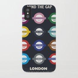 London subway poster, metro alphabet map, underground sign, London tube iPhone Case