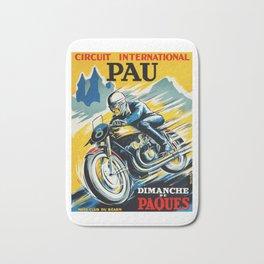 Grand Prix Pau, vintage poster, Motorcycle poster, race poster, Motorcycle poster Bath Mat