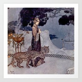 """""""Circe With Leopards"""" by Edmund Dulac Art Print"""