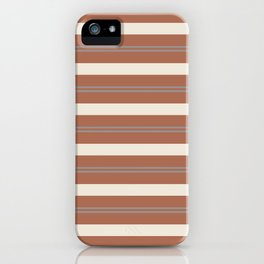 Slate Violet Gray and Creamy Off White Stripes Thick and Thin Horizontal Lines on Cavern Clay iPhone Case