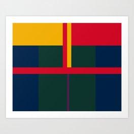 vintage, pattern, primary, colors, Art Print