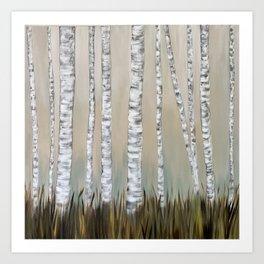 Birch Tree Meadow Art Print