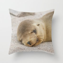 Sleeping baby sea lion Throw Pillow