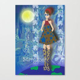 Girl on Top of the World with Starry Eyes Canvas Print