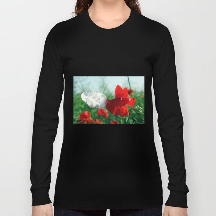 White Poppy and Red Poppy Long Sleeve T-shirt