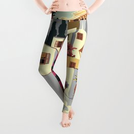 Athens Greece Vintage Travel Poster Commercial Air Travel Poster Leggings