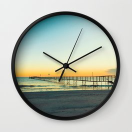 Sandy beaches of Rimini shortly after dawn in winter Wall Clock