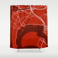 san diego Shower Curtains featuring San Diego CA. Map by Studio Tesouro