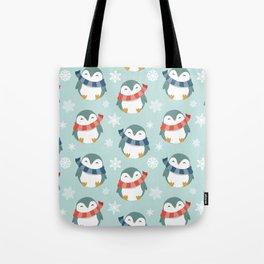 Winter penguins pattern Tote Bag