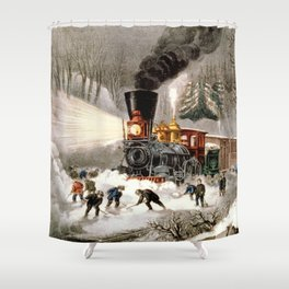 Snow Bound: Vintage Currier & Ives Railroad Scene Shower Curtain
