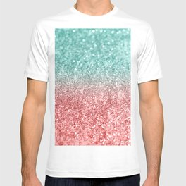 Summer Vibes Glitter #2 #coral #mint #shiny #decor #society6 T-shirt